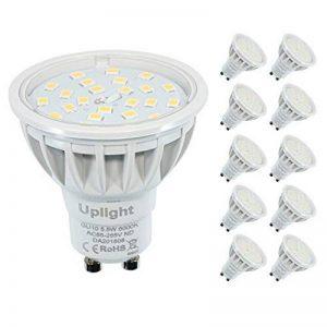 Ampoules LED Non-Dimmable de lumière GU10 5.5w éclairage de la maison,Blanc Froid 6000K, RA85 600LM,120°angle de Faisceau,remplacement d'halogène de 50W-60W。(Lot de 10) de la marque Uplight image 0 produit