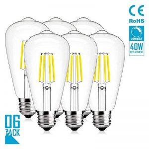Ampoules À LED, OOFAY Ampoule Edison Vintage 4W Dimmable Ampoules LED ST64 E27, 400Lm, Angle De Faisceau 360 °, Lumière Du Jour 6400K, Ampoules À Filament LED 6 Pièces de la marque OOFAY TAPS image 0 produit