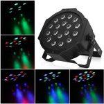 Amzdeal® 18 LEDs RGB DMX Lampe de scène Projecteur à effet PAR à LED Lumière multicolor pour Soirée Club Disco DJ Party Fête Concert (Noir) de la marque Amzdeal image 1 produit