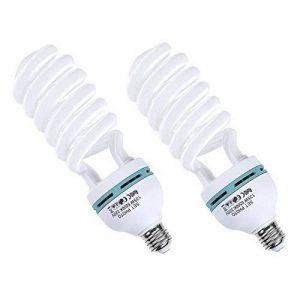 Amzdeal Ampoule photo LED 135W avec 2 pièces 220v , Ampoule en spirale E27 à economiser l'energie, Lampe Studio 5500K Lumière du jour pour Softbox Vidéo Photographie de la marque Amzdeal image 0 produit