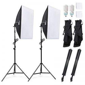 Amzdeal Softbox 2 Kit Éclairage, Softbox 50x70cm avec 2 Ampoules 1124W Lumière Continue 5500K et Un Sac de transport, Lumière Continue Douce pour Portrait, Objet, Photo de Mode et à l'Enregistrement Vidéo de la marque Amzdeal image 0 produit