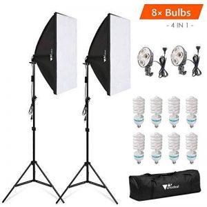 Amzdeal Softbox Kit 8* 1124W Ampoule + 2* Softbox 50x70cm Studio Photo Éclairage 4-en-1 5500K Lumière de Jour Lampe Photographique Professionnelle, avec 2* Trépied Réglable 68-200cm + 1* Sac Transport de la marque Amzdeal image 0 produit