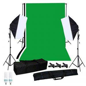 Andoer Kit d'éclairage photographie Softbox avec Studio fond Stand fond vert blanc noir 125 w ampoules culot unique Softbox éclairage Stand Mini Clips de la marque Andoer image 0 produit