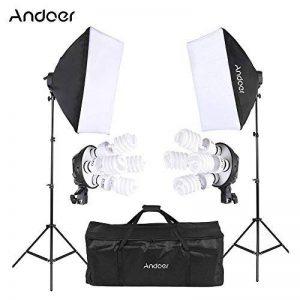 Andoer Photo Studio Kit d'éclairage (Softbox, l 'ampoule, Prise de courant UE, Pied d'éclairage, Cantilever bâton, Fond noir blanc vert, Toile de fond support, Pince à ressort, Sac de transport) de la marque Andoer image 0 produit