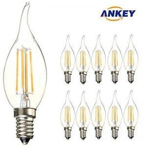 ANKEY 10-pièces lampe à incandescence LED flamme-ampoule E14-puissance 4W (remplace 40 W)-lumière blanche chaude (2700)-400 LM-angle de faisceau 300 ° de la marque ANKEY HOME image 0 produit