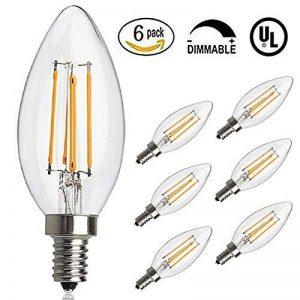 Antique ampoule LED, E12Base 2700K 4W 30W vintage Edison LED Lustre ampoules LED Chandelier ampoule, à intensité variable LED bougie ampoule à filament de tungstène pour la maison, cuisine, salle à manger, chambre à coucher, salon, Blanc chaud, Lot de image 0 produit