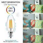 Antique ampoule LED, E12Base 2700K 4W 30W vintage Edison LED Lustre ampoules LED Chandelier ampoule, à intensité variable LED bougie ampoule à filament de tungstène pour la maison, cuisine, salle à manger, chambre à coucher, salon, Blanc chaud, Lot de image 3 produit