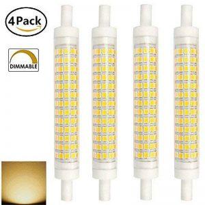 AscenLite 10W R7S Dimmable, Pack of 4, J118 Ampoule LED 220-240V 118mm Blanc chaud 100W Ampoule halogène Double Ended J type Replacement de la marque AscenLite image 0 produit
