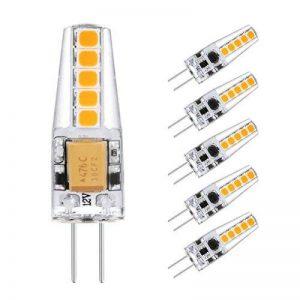 Ascher 5X G4 2W Ampoules LED, Equivalent à lampe halogène 20W, 220 lumens,AC /DC 12V -Blanc Chaud 2900K, Angle du faisceau 360° de la marque Ascher image 0 produit