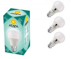 ATAPA 3 x SMD LED Ampoule 7W B22 , 560 lm, avec un angle de faisceau de 270°,Équivalence lampes à incandescence 60W, lumière des LED très claire et naturelle, blanc chaud 3000 K, A60, baïonnette, éclairage encastré pour douche, salle de bain, cuisine, sal image 0 produit