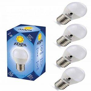 ATAPA 4x Sphérique Dépolie LED E27 Ampoule 4W , 320 lm, Angle d'éclairage 270°, lumière des LED très claire et naturelle, blanc chaud 3000 K, ball globe ampoule bulb de la marque ATAPA image 0 produit
