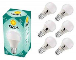 ATAPA 6 x SMD LED Ampoule 7W B22 , 560 lm, avec un angle de faisceau de 270°,Équivalence lampes à incandescence 60W, lumière des LED très claire et naturelle, blanc chaud 3000 K, A60, baïonnette, éclairage encastré pour douche, salle de bain, cuisine, sal image 0 produit