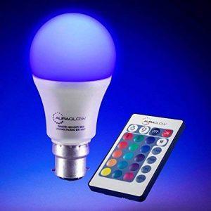 AURAGLOW 7w télécommande couleur changeante LED ampoule B22, 60w EQV chaud blanc Dimmable Version - 3ème génération de la marque Auraglow image 0 produit