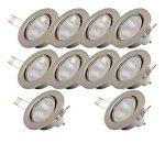 B.K. Licht lot de 10 spots encastrables orientables, 10 ampoules 5W LED GU10 incluses, éclarage plafond intérieur, blanc chaud, 230V, IP23 de la marque B.K.Licht image 1 produit