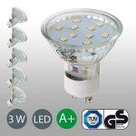 B.K. Licht lot de 5 ampoules LED, GU10, 250 lm, lumière blanche chaude, équivaut lampe halogène 30W, classe énergétique A+, 230V, 5x3W, Ø 58 mm de la marque B.K.Licht image 2 produit