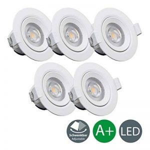 B.K. Licht lot de 5 spots LED encastrables orientables, 5X5W et platine LED inclus, 350lm, 3000K, IP23, plafonnier LED design, spots LED ronds, blanc chaud, 230V, IP23 de la marque B.K.Licht image 0 produit