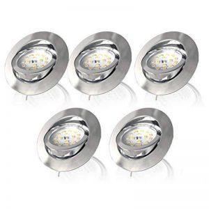 B.K. Licht lot de 5 spots LED encastrables orientables dimmables, plafonnier design, éclairage intérieur, coloris argent, blanc chaud, 230V, IP23, 5x5,5W, 470lm de la marque B.K.Licht image 0 produit