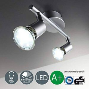 B.K. Licht plafonnier 2 spots LED orientables, spots plafond orientables, ampoules LED GU10 2X3W fournies, éclairage plafond LED cuisine chambre salon, blanc chaud, 230V, IP20 de la marque B.K.Licht image 0 produit
