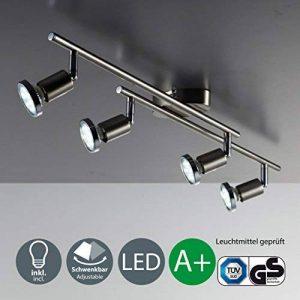 B.K. Licht plafonnier 4 spots LED orientables, GU10, 4 spots plafond x3W, lumière blanche chaude, plafonnier chambre salon cuisine bureau, 230V, IP20, 4x3W inclus de la marque B.K.Licht image 0 produit