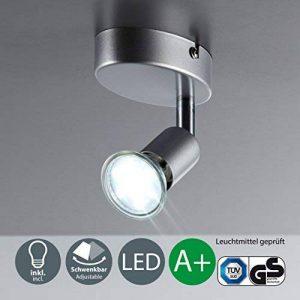B.K. Licht plafonnier LED, 1 spot 3W orientable, GU10, 250 lm, applique murale LED salon salle à manger cuisine couloir chambre bureau, lumière blanche chaude, 230V, IP20, 1x3W inclus de la marque B.K.Licht image 0 produit