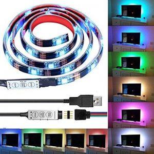 Bande LED USB Rétroéclairage TV,Makion 100cm / 3.28ft multi-couleurs 30leds flexible 5050 USB RGB LED bande de lumière avec le câble USB 5v et Mini Controller pour TV / PC / ordinateur portable Rétro-éclairage de la marque Makion image 0 produit