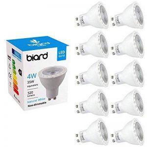 Biard® - Lot de 10 Ampoules LED Culot GU10 SPOT 4W Équivalent 35W Blanc Jour Non Dimmables Idéal remplacement halogènes 25.000 heures de la marque Hudson Reed image 0 produit