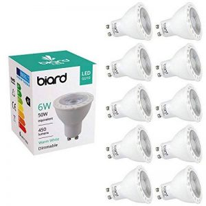 Biard® - Lot de 10 Ampoules LED Culot GU10 SPOT 6W Équivalent 50W Blanc Chaud Dimmables Idéal remplacement halogènes 25.000 heures de la marque Hudson Reed image 0 produit