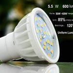Blanc Naturel 4000K Non-Dimmable LED ampoules GU10 Spotlight, 5.5w, 600 lumens, High CRI 85Ra, CE ROHS approuvé AC230V 120°angle de Faisceau,salon,cuisine utilisée spots LED。(Lot de 10,3 ans de garantie) de la marque Uplight image 1 produit