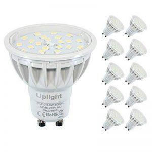 Blanc Naturel 4000K Non-Dimmable LED ampoules GU10 Spotlight, 5.5w, 600 lumens, High CRI 85Ra, CE ROHS approuvé AC230V 120°angle de Faisceau,salon,cuisine utilisée spots LED。(Lot de 10,3 ans de garantie) de la marque Uplight image 0 produit