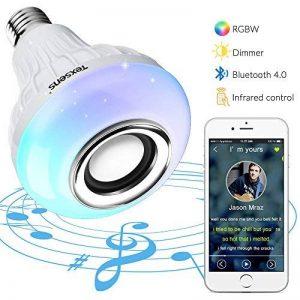 Bluetooth Ampoule, Texsens Smart WIFI Lampe Enceinte Musique Ampoule - RGBW E27 Stéréo Dimmable LED avec Télécommande pour iOS et Android de la marque Texsens image 0 produit