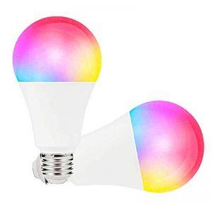 Boaz SmartLife E27,RGBW Couleur Changeable Dimmable Ampoule LED intelligente, télécommande partout Lumière intelligente WiFi, commande vocale Intelligent Bulb Compatible avec Alexa et Google Home ( 2 packs 7W Equivalent à 60 watts) de la marque BOAZ SMART image 0 produit