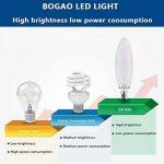 BOGAO 12 W E14 Ampoule LED Chandelier, 85-100 Watt lumière lamps équivalent, 85-265 V, Blanc lumière du jour LED bougie ampoules, 1200 lumens Lampes LED, forme de torpille, pas dimmable (6000 K, 4pcs, RB), blanc, E14, 12.00 wattsW 230.00 voltsV [Classe én image 4 produit