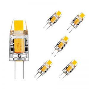 BOGAO G4 COB LED Ampoule, AC / DC 12V, 2W, 120-140LM, Blanc (6000K) Equivalent à 15W Lampe halogène Remplacement, Non-réglable, angle de faisceau de 360 degrés, Ampoule de projecteur en cristal, Lot de 5 de la marque BOGAO image 0 produit