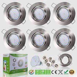 Bojim 6x LED Spots Encastrables Orientable GU10 Lampe de plafond Blanc Chaud Plafonnier Encastré 6W 600lm Equivalente de 54W Ampoule 30°orientable 120°d'éclairage 220V Rond Métal Nickel Non Dimmable de la marque Bojim image 0 produit