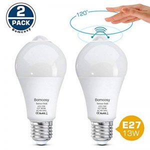 Bomcosy - Ampoule LED E2713W - Capteur intelligent PIR 100Watts - Équivalent Auto Marche / Arrêt pour couloir, porche, garage - Lot de 2, Blanch chaud (3000 k), e27, 13.00W 230.00V de la marque Bomcosy image 0 produit