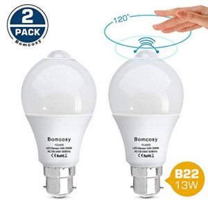 Bomcosy - Lot de 2 ampoules LED B22 13 W - Capteur intelligent PIR - Équivalent à 100W - Marche/arrêt automatique - Pour couloirs, porches, garages, sous-sols, Blanch chaud (3000 k) 13.00W 230.00V de la marque image 0 produit