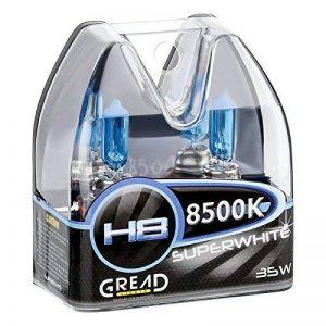 Boîte d'ampoules halogènes H8, aspect xénon, 35W, avec certificationE, super blanc, 8500Kelvin, ajustement parfait et longue durée de vie de la marque Gread image 0 produit