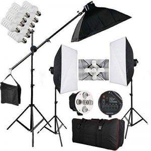 BPS 2850W Softbox douille 5 en 1 éclairage continu kit 15x38W lampe 5500K pour studio photo vidéo, chaque ampoule dispose d'un interrupteur indépendant avec 3 boîte à lumière, une potence et sac de transport de la marque BPS image 0 produit