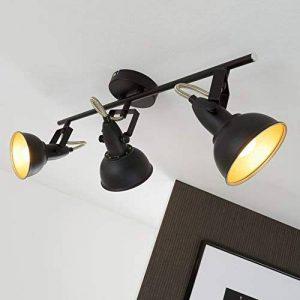 Briloner Leuchten 2049-035 Plafonnier 3 spots pivotants - luminaire style vintage - métal noir & or mat - 3 douilles E14-40 W max. - 55.4 x 10 x 18.1 cm de la marque Briloner Leuchten image 0 produit