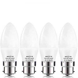 BRTLX Ampoules Bougie LED B22 7 W Equivalence Incandescence 60W Ampoule Baïonnette 560LM Blanc Froid 6000K Givré Non Dimmable Lot de 4 [Classe énergétique A+] de la marque BRTLX image 0 produit