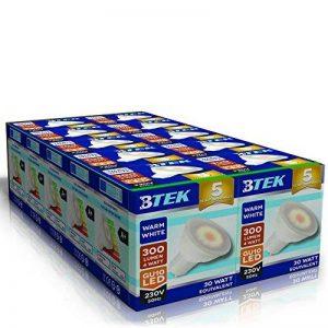 BTEK® 10PC GU10 4W LED Blanc chaud AC 230V 50 Hz 300LM 30W lumière spot ampoules à économie d'énergie de haute puissance de lampes Angle du faisceau 120º [Classe énergétique A] de la marque BTEK image 0 produit