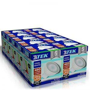 BTEK® 10PC GU5.3 MR16 6W LED Blanc froid 480LM 40W lumière spot ampoules à économie d'énergie de haute puissance de lampes Angle du faisceau 120º [Classe énergétique A] de la marque BTEK image 0 produit