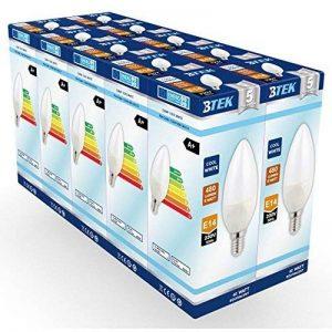 BTEK® (pack de 10) E14 Petit vis Edison 6W (40W ampoule à incandescence équivalente) LED Non-dimmable candle bougie ampoule, blanc froid givré avec 5 ans de garantie de la marque BTEK image 0 produit