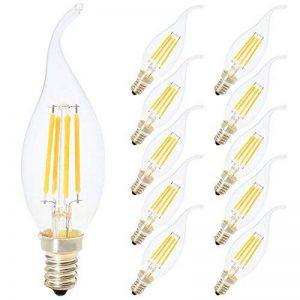 C35E14bougie lampe à filament LED Retrofit Classic 4W EDISON Filament Ampoule LED équivalent Ampoule 40W 400Lumen 3000K Blanc Chaud Verre Transparent Forme Piston classique, intensité non réglable, Lot de 10, e14, 4.00 wattsW de la marque MAXXIVE image 0 produit