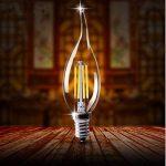 C35E14bougie lampe à filament LED Retrofit Classic 4W EDISON Filament Ampoule LED équivalent Ampoule 40W 400Lumen 3000K Blanc Chaud Verre Transparent Forme Piston classique, intensité non réglable, Lot de 10, e14, 4.00 wattsW de la marque MAXXIVE image 2 produit