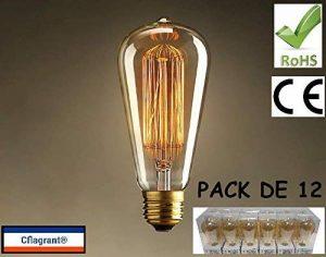 Cflagrant® Pack de 12 Ampoules Rétro Vintage à Incandescence Lampe Edison E27 40W ST64 0% de Mercure Dimmable Lumière Chaude Utilisable sans Abat Jour de la marque Cflagrant image 0 produit