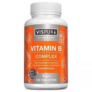Complexe de vitamine B à dosage ultra-fort 120 comprimés végétaliens toutes les vitamines sans stéarate de magnésium produit allemand de qualité supérieure et 30 jours de reprise gratuite de la marque VISPURA image 0 produit