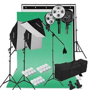 """CRAPHY Kit Éclairage Studio Photo, 2000W Kit Studio Photo complet avec 3x50cmx70cm Softbox + 12x45W Ampoules + 3x80""""(2m) Trépieds + 3 Fonds (vert, blanc, noir) + 2mx3m Support de Fond d'Écran + Sac de Transport de la marque CRAPHY image 0 produit"""