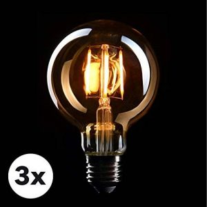 CROWN 3 x Edison ampoules E27, peut être obscurci, 4W, blanc chaud, 230V, EL04, éclairage du filament ancien dans le style rétro vintage de la marque CROWN LED image 0 produit