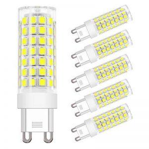 DiCUNO G9 Led Ampoules, Base En Céramique, 4.5W (Equivalent 50W Ampoules Halogènes), 450Lm, lumière du jour 6000k, Pas de scintillement, Culot G9, G9 Ampoules Pour l'Éclairage Domestique, Pack De 6 de la marque DiCUNO image 0 produit
